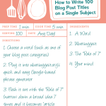 How to Write 100 Blog Post Titles on a Single Subject (Instructographic)